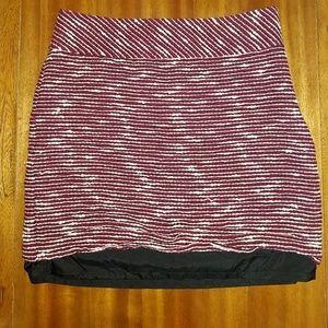 Ann Taylor Loft Woven Red & White Skirt Sz 4